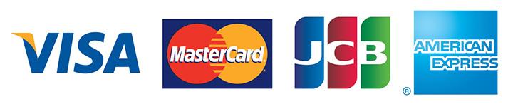 VISA、MASTER CARD、JCB、AMEX